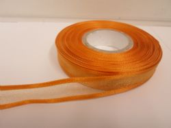 Dark Gold satin edged organza ribbon, 2 or 25 metres, Double sided, 10mm, 15mm, 25mm, 40mm, 70mm